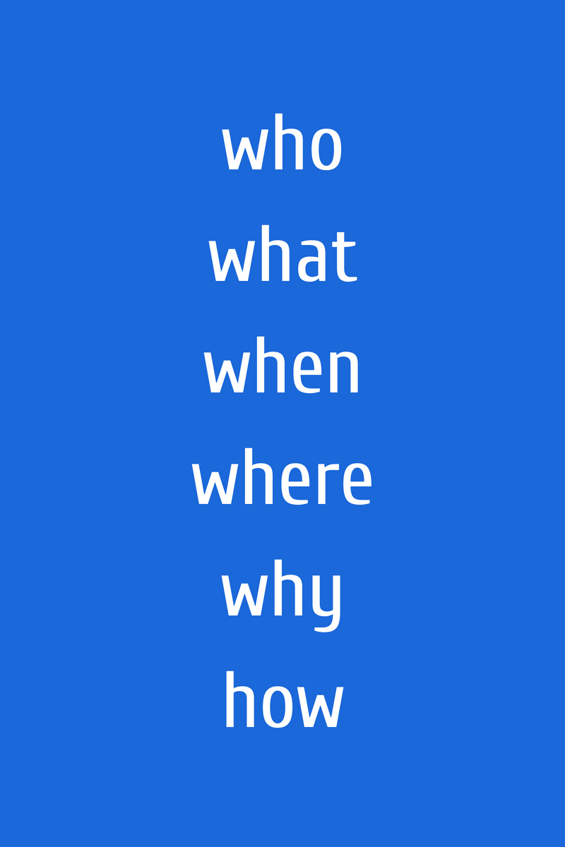 Blog writing - remember to include who, what, when, where, why & how in your blog content